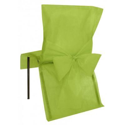 Housses de chaise vert anis (x10) + noeud en non tissé