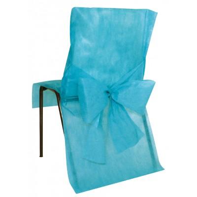 Housses de chaise turquoise ( x10) + noeud en non tissé