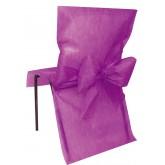 Housses de chaise prune (x10) + noeud en non tissé