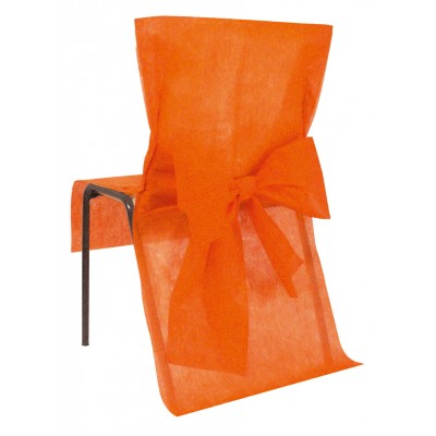 Housses de chaise orange ( x10) + noeud en non tissé