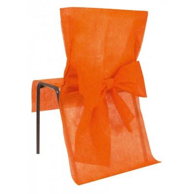 Housses de chaise orange ( x10) + noeud en non tissé