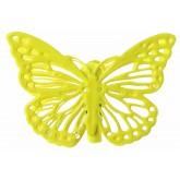 Pinces papillons ciselés (x4) jaune