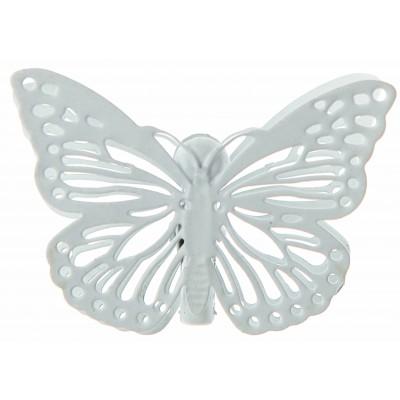 Papillons ciselés sur pince (x4) blanc