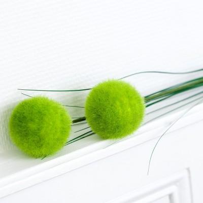 Tige de 2 pompons vert anis