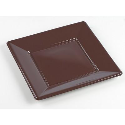 Assiettes carrées (x8) chocolat