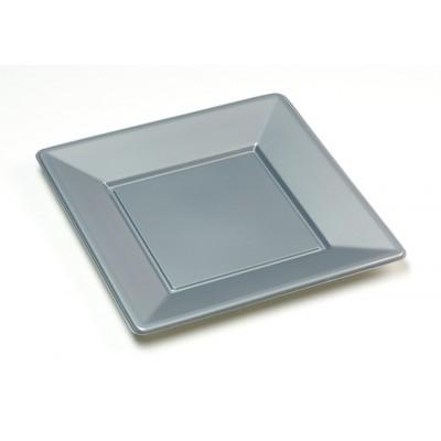 Assiettes carrées (x8) argent