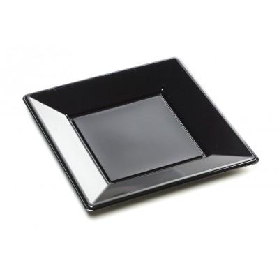 Assiettes carrées (x8) noir