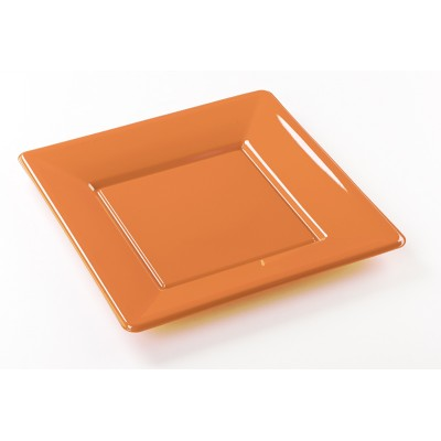 Assiettes carrées (x8) orange