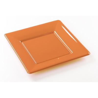 Assiettes carrées (x8) orange