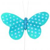 Papillons plumetis pailletés (x6) turquoise / blanc