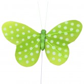 Papillons plumetis pailletés (x6) vert anis / blanc