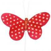 Papillons plumetis pailletés (x6) rouge / blanc