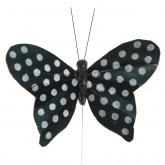 Papillons plumetis pailletés (x6) noir / blanc