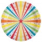 Assiettes rondes étoiles multicolores (x10)