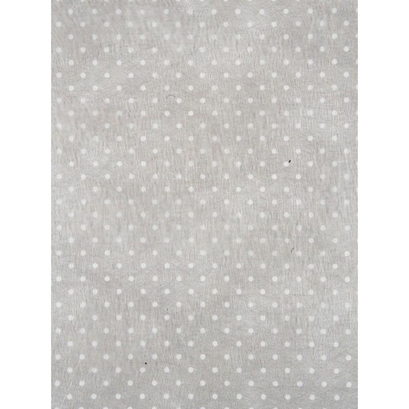 Chemin de table gris blanc plumetis en intiss - Chemin de table gris perle ...