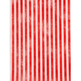 Chemin de table rayé en intissé rouge / blanc