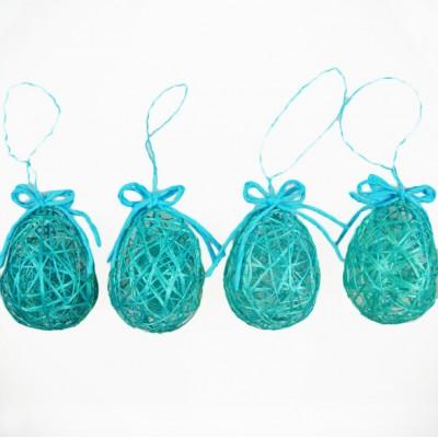 Oeufs de Pâques déco (x4) turquoise