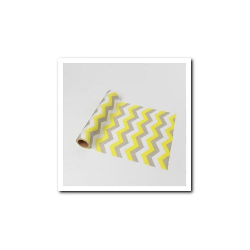 Chemin de table chevron gris et jaune en tissu for Chemin de table gris et blanc