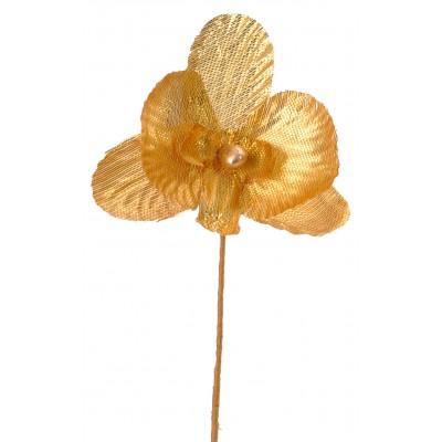 Mini orchidées métallisées (x6) or