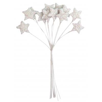 Piquets étoiles pailletées (x12) blanc