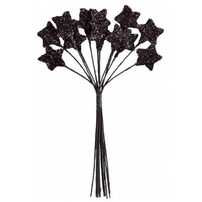 Piquets étoiles pailletées (x12) noir