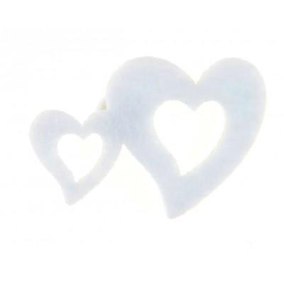 Stickers double cœurs (x12) blanc