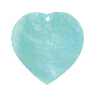 Nacres colorées forme cœur (x6) turquoise