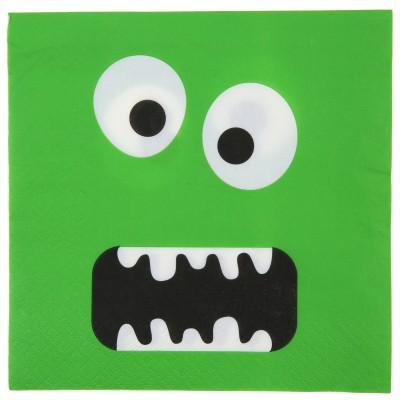 Serviettes monstre rigolo vert fluo (x10)