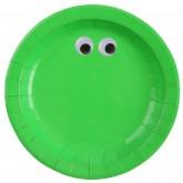 Assiettes monstre rigolo vert fluo (x10)