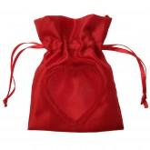 Sachets rouges avec coeur en satin (x6)