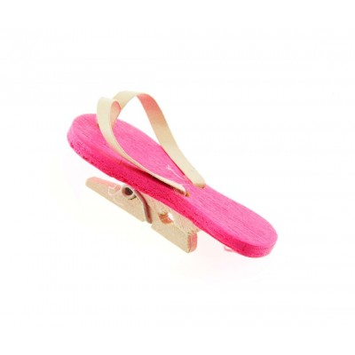 Tongs sur pince (x6) fuchsia