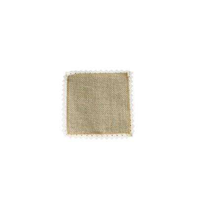 Napperon carré jute et dentelle (x6)