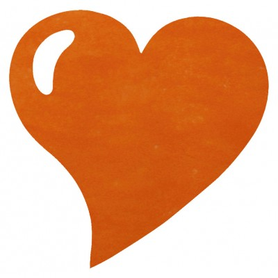 Sets de table coeur en non tissé orange (x50)