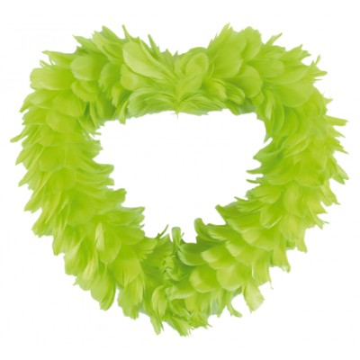Grand coeur en plumes à suspendre vert anis