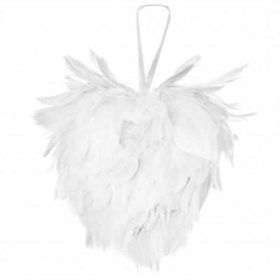 Cœur en plumes blanc