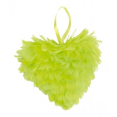 Cœur en plumes vert anis