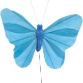 Papillons unis sur tige (x6) turquoise