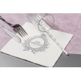 Serviettes Just Married blanc / argent (x20)