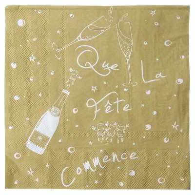 Serviettes « Que la fête commence » (x20) or