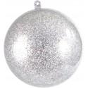 Grande boule transparente pailletée argent