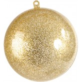 Grande boule transparente pailletée or