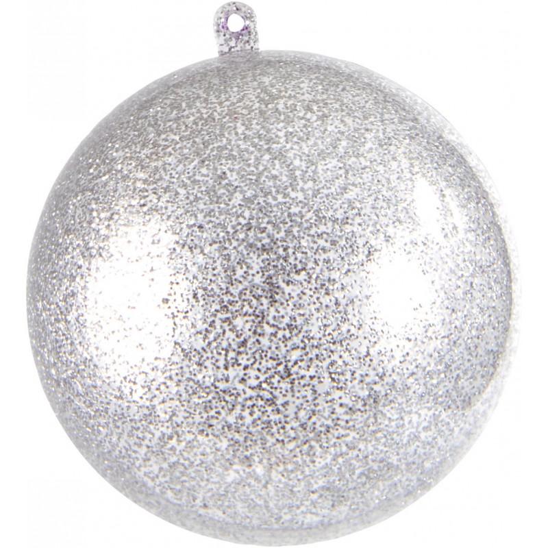 Petite boule transparente paillet e argent - Boule noel transparente ...