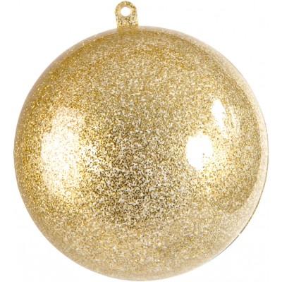 Petite boule transparente pailletée or