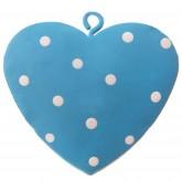 Cœurs turquoise / blanc plumetis en métal peint (x4)