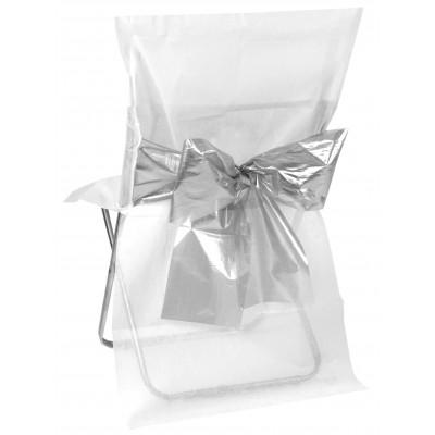 Housses de chaise (x4) avec nœud métallisé blanc / argent
