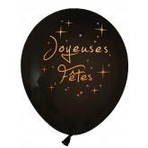 Ballons Joyeuses Fêtes (x8) noir /or