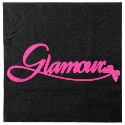 "Serviettes de table ""glamour"" (x20) noir & fuchsia"