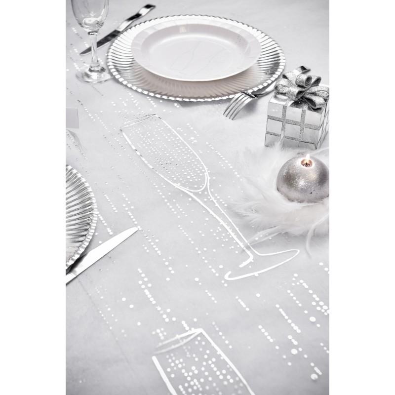 Chemin de table blanc argent fl tes de champagne for Chemin de table argent