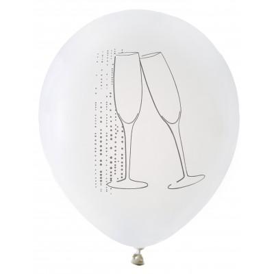 Ballons blancs argentés flûtes de champagne (x8)