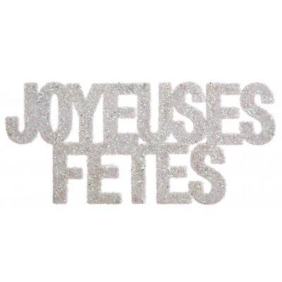 """Confettis pailletés Joyeuses Fêtes"""" argentés (x6)"""""""